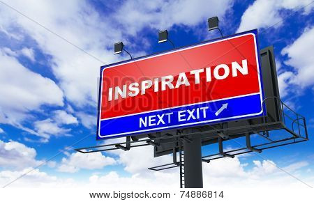 Inspiration Inscription on Red Billboard.