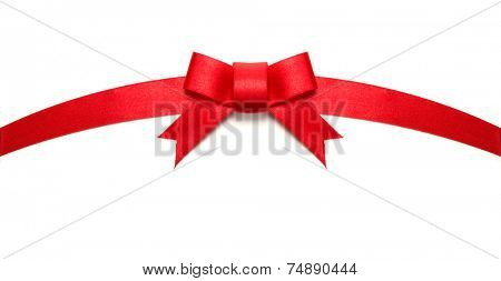 Arched red ribbon tie or bow. Isolated on white.