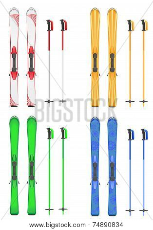 Set Icons Skis Mountain Vector Illustration