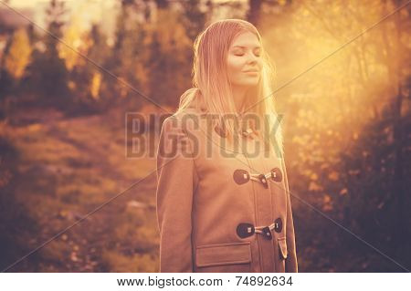 Young Woman happy smiling harmony with nature sun light outdoor Lifestyle