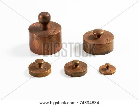 Old Brass Metric Weights