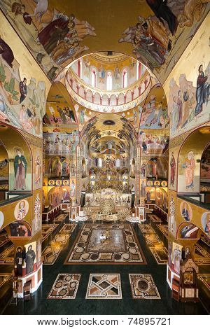 PODGORICA, MONTENEGRO - AUGUST, 17: inside the Cathedral of the Resurrection in Podgorica. Still incomplete at the time of shot in 2014, construction was began in 1993