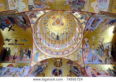 PODGORICA, MONTENEGRO - AUGUST, 17: vault of the Resurrection Cathedral in Podgorica. Still incomplete at the time of shot in 2014, construction was began in 1993
