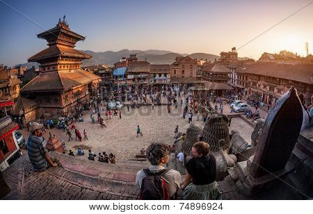 Square With Pagodas In Bhaktapur
