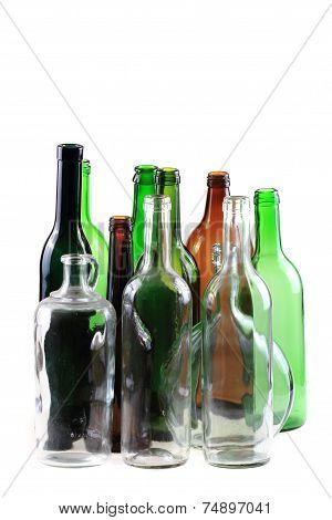 Empty Glass Bottles Isolated