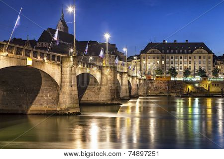 Mittlere Bridge Over Rhine River At Sunset, Basel