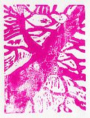 stock photo of linoleum  - Tree print original made in linoleum print technique in pink - JPG