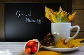 Постер, плакат: Hot Hip Tea With Berries On The Wood Background