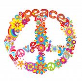 image of hippy  - Peace flower symbol with hippie symbolic - JPG