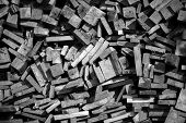 stock photo of firewood  - Chopped Firewood in black and white  photo  - JPG