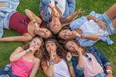 picture of silence  - group of teens saying silence - JPG