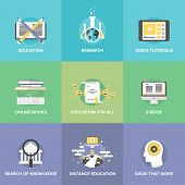 foto of online education  - Flat icons set of free distance education online learning process internet video tutorials electronic books internet university search - JPG