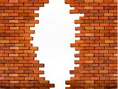 pic of brick block  - Vintage brick wall background with hole - JPG