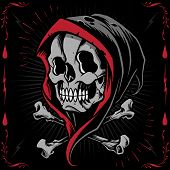 pic of skull cross bones  - The Reaper and Bone Cross in Tattoo flash design style - JPG