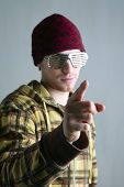 Young Boy Red Cap Finger Gesture Steel Glasses