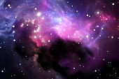 stock photo of nebula  - Space background with purple nebula and stars - JPG
