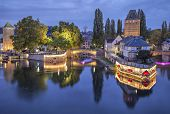 picture of dam  - Evening view on Pont Couverts from Vauban dam in Strasbourg France - JPG