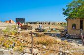 foto of shacks  - The shack in the wasteland next to the luxury Marina of Hurghada Egypt - JPG