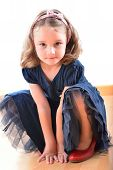pic of little girls photo-models  - Little cute girl posing while wearing her mother - JPG