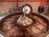 picture of mezcal  - Press of natural stone for the preparation of raw materials to factory Mezcal - JPG