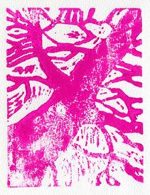 pic of linoleum  - Tree print original made in linoleum print technique in pink - JPG