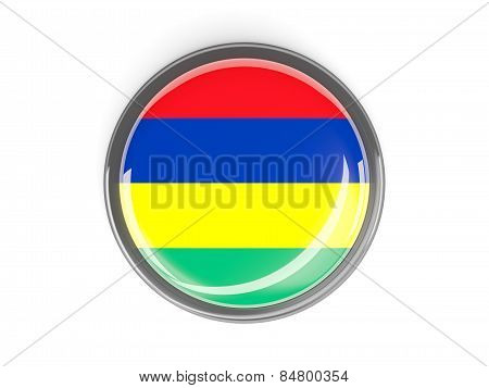 Round Button With Flag Of Mauritius