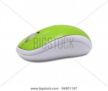 Green Optical Wireless Mouse.with Clipping Path