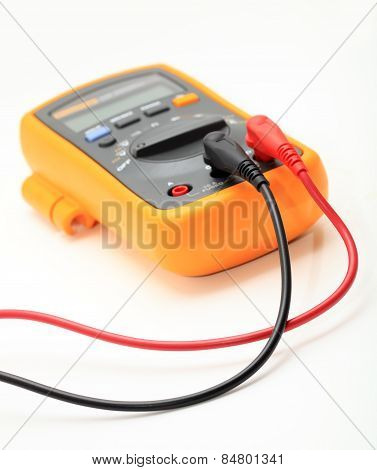 Modern Digital Multimeter On A White Background.