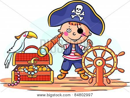 Little boy playing pirate