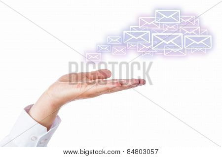 Email Cloud Leaving The Palm Of A Hand On White