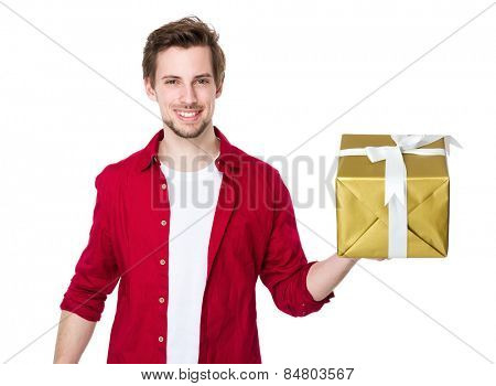 Happy man hold with big gift