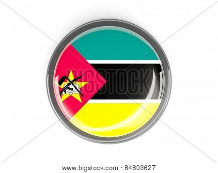 Round Button With Flag Of Mozambique