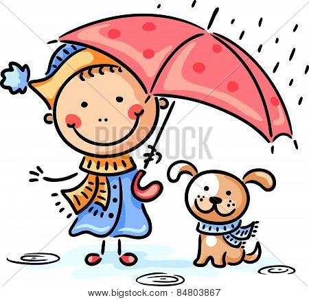 Girl and her puppy under the umbrella