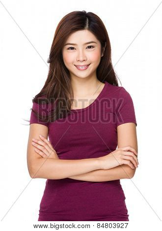 Asian woman in red tee