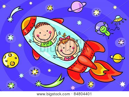 Children exploring space