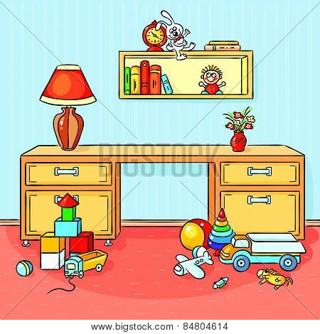 Children room with a lot of toys scattered on the floor