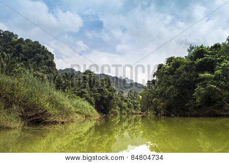 Landscape of Khao Sok National Park in Thailand