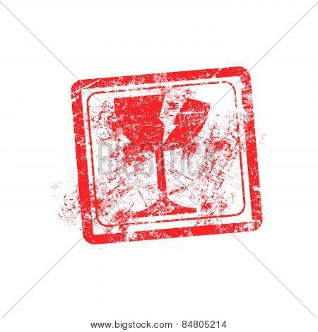 glass icon red grunge rubber stamp vector illustration