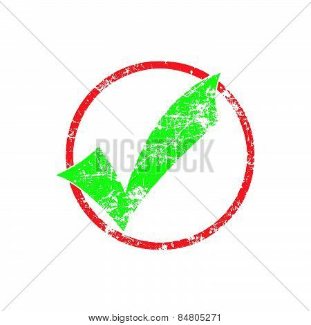 Green Check In Red Cycle Grunge Rubber Stamp Vector Illustration
