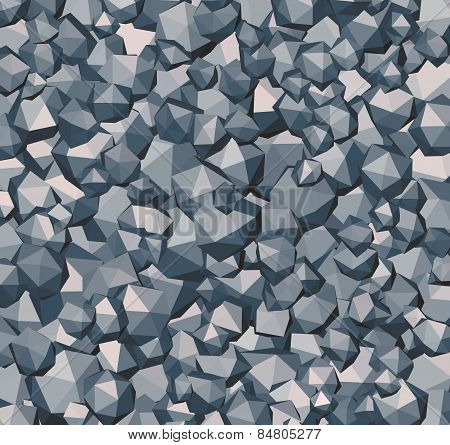 Stone Rock Polygonal Abstract Shape In Gray Blue