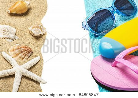 Accessories For The Beach And The Sea Sand With Seashells