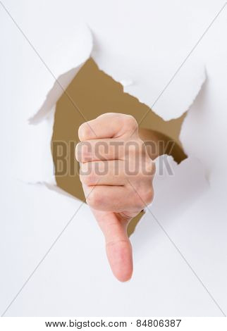 Dislike gesture break through the paper wall