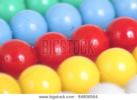 Close Up Of An Old Colorful Abacus, Selective Focus