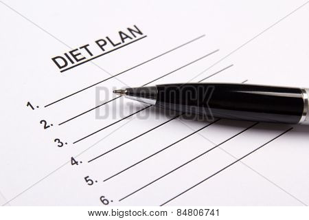 Sheet Of Paper With Diet Plan