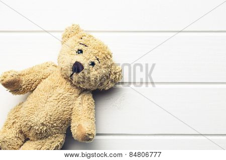 the teddy bear on white table