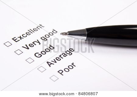 Survey With Excellent, Very Good, Good, Average And Poor Answers And Pen
