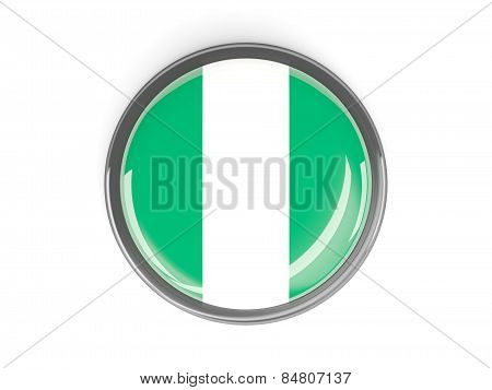 Round Button With Flag Of Nigeria