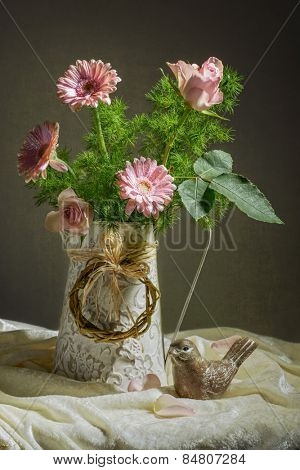 Pink roses and gerbera for Mothers day