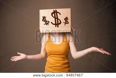 Young girl standing and gesturing with a cardboard box on his head with dollar signs
