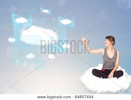 Happy young girl looking at modern cloud network